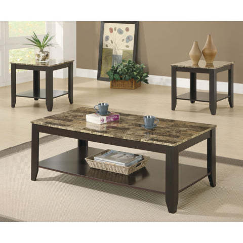 Monarch Specialties I 7984P Cappuccino / Marble-Look Top 3 Piece Coffee Table Set