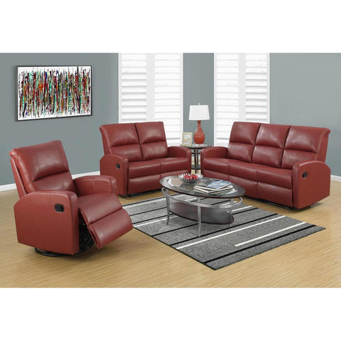 Monarch Specialties I 84RD-2 Reclining Loveseat Red Bonded Leather