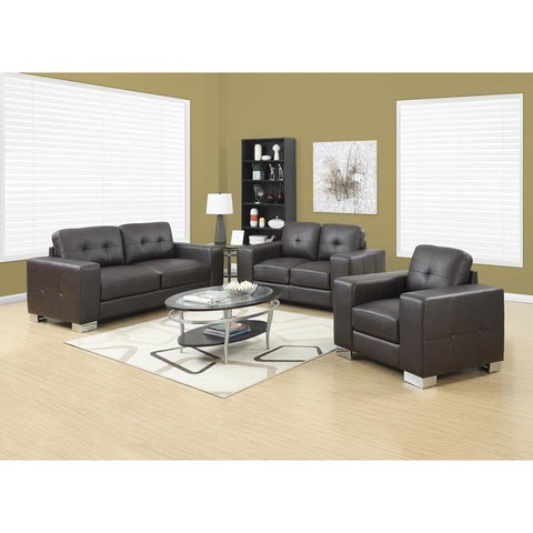 Monarch Specialties Love Seat - Dark Brown Bonded Leather