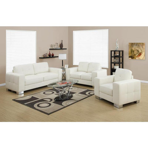 Monarch Specialties Love Seat - Ivory Bonded Leather