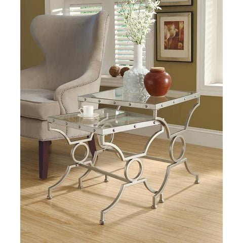 Monarch Specialties Nesting Table - (set Of Two) Set / Silver With Tempered Glass