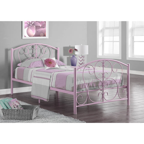 Monarch Specialties Pink Metal Twin Size Bed Frame I 2390P