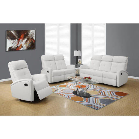 Monarch Specialties Recliner Swivel Glider In White Bonded Leather I 8088wh