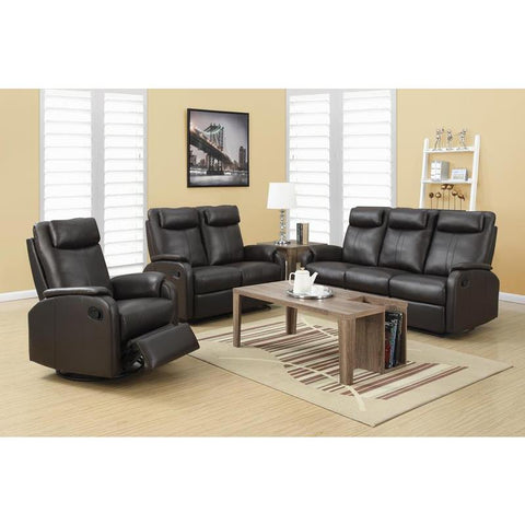 Monarch Specialties Reclining - Love Seat Brown Bonded Leather