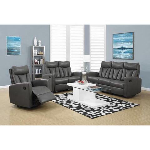 Monarch Specialties Reclining - Love Seat Charcoal Grey Bonded Leather / M