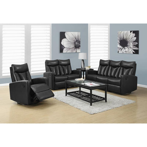 Monarch Specialties Reclining - Love Seat Facing Black Bonded Leather