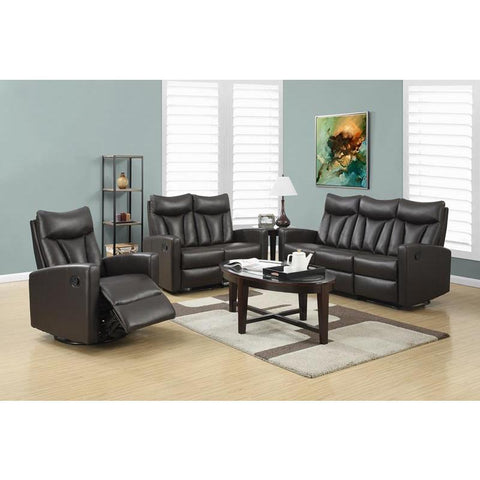 Monarch Specialties Reclining - Love Seat Facing Brown Bonded Leather