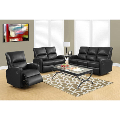 Monarch Specialties Reclining Love Seat Black Bonded Leather I 84bk-2