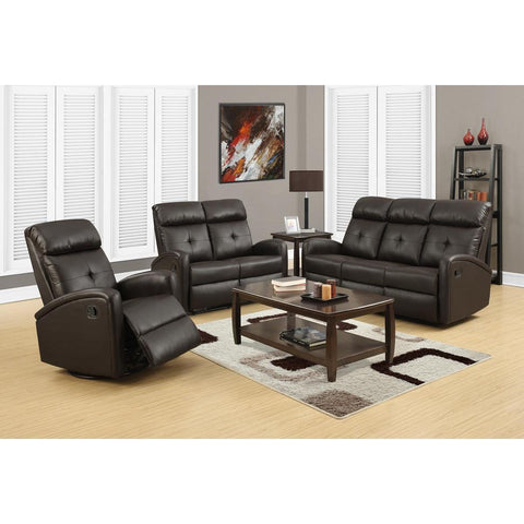 Monarch Specialties Reclining Love Seat Dark Brown Bonded Leather I 88br-2