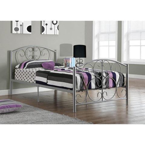 Monarch Specialties Silver Metal Twin Size Bed Frame I 2390S