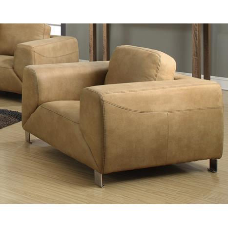 Monarch Specialties Tan Chocolate Brown Contrast Micro-Suede Chair I 8511TN