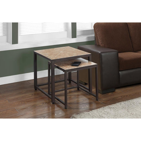 Monarch Specialties Terracotta Tile Top Hammered Brown Two Pieces Nesting Tables I 3161