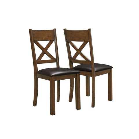 Monarch Specialties Walnut Dark Brown Leather-Look Dining Chair I 1551