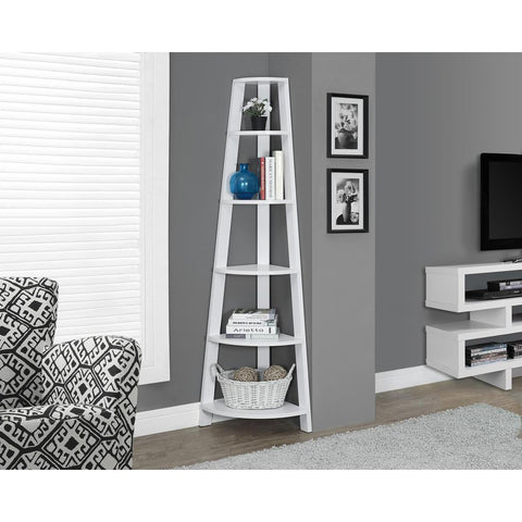 Monarch Specialties White Corner Accent Etagere I 2496