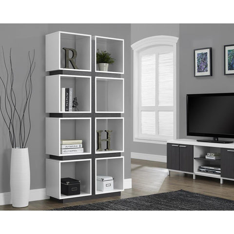 Monarch Specialties White Grey Hollow-Core Bookcase I 7076