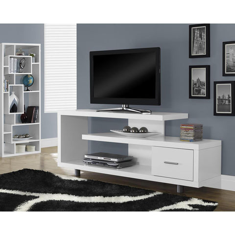 Monarch Specialties White Hollow-Core TV Console I 2573