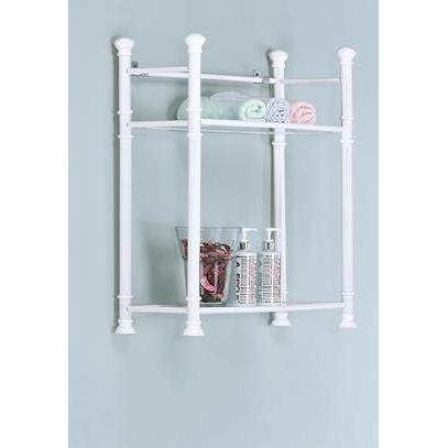Monarch Specialties White Metal Wall Mount Shelf With Tempered Glass I 3425