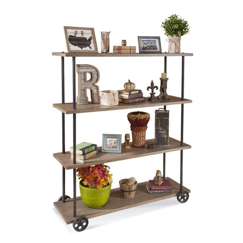 Philip Reinisch Folio Cartwright Moblie Bookshelf in Distressed Rustic Oak