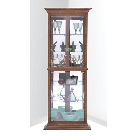 Philip Reinisch Power Cabinet Fairfield I Corner Curio Cabinet in Old Oak