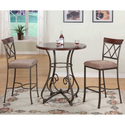 Powell 3 Piece Hamilton Pub Table Set in Medium Cherry