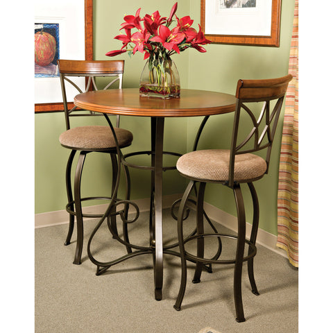 Powell 3 Piece Hamilton Swivel Pub Table Set in Medium Cherry