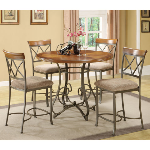 Powell 5 Piece Hamilton Gathering Table Set in Medium Cherry