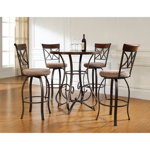 Powell 5 Piece Hamilton Pub Table Set In Brushed Faux Medium Cherry