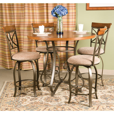 Powell 5 Piece Hamilton Swivel Gathering Table Set in Medium Cherry