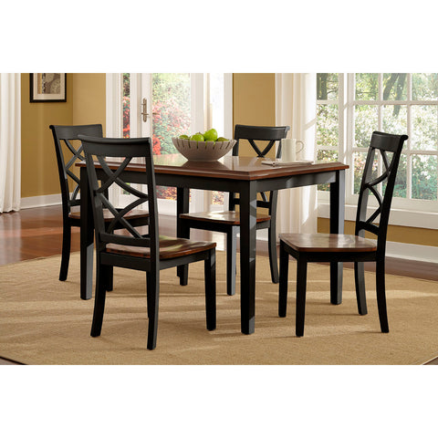 Powell 5 Piece Harrison Black and Cherry Dinning Set