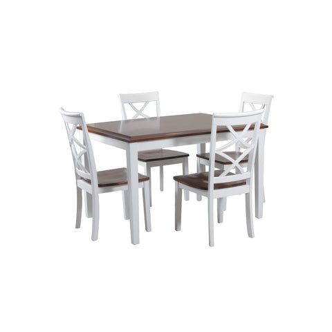 Powell 5 Piece Harrison Cherry and White Dinning Set