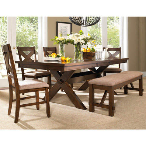 Powell 6 Piece Kraven Dining Room Set in Dark Hazelnut