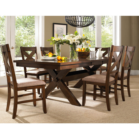 Powell 7 Piece Kraven Dining Room Set in Dark Hazelnut