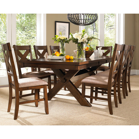 Powell 9 Piece Kraven Dining Room Set in Dark Hazelnut