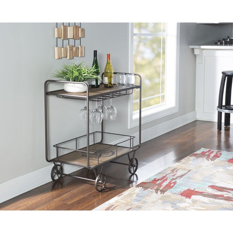 Powell Ames Dining Cart in Natural