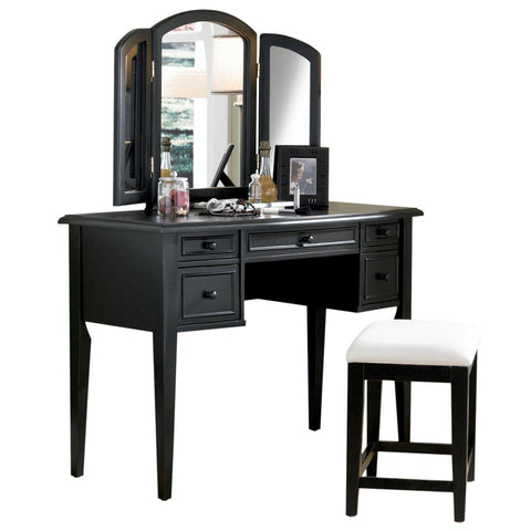 Powell Antique Black w/ Sand Through Terra Cotta Vanity w/ Mirror & Bench