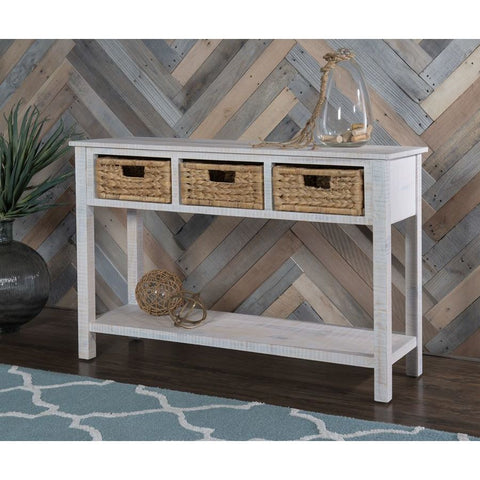 Powell Ari Basket Console in Natural Whitewash