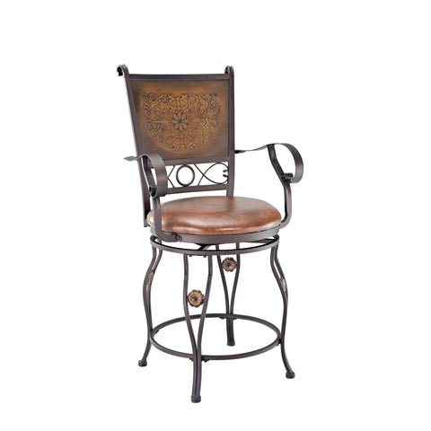 Powell Big and Tall Copper Stamped Back Stool with Arms