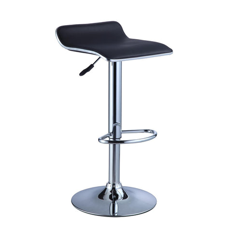 Powell Black Faux Leather & Chrome Adjustable Height Bar Stool