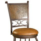 Powell Bronze w/ Muted Copper Stamped Back 30 Inch Bar Stool