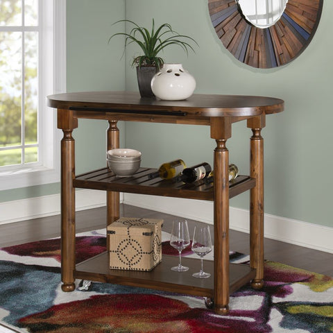 Powell Cassidy Kitchen Cart in Chestnut