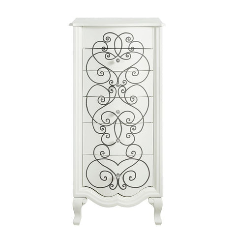 Powell Clara Jewelry Armoire in Vanilla