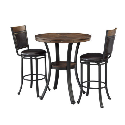 Powell Franklin 3 Piece Pub Table Set in Metal & Wood