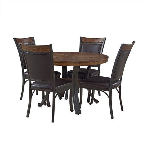 Powell Franklin 5 Piece Dining Room Set in Rustic Umber