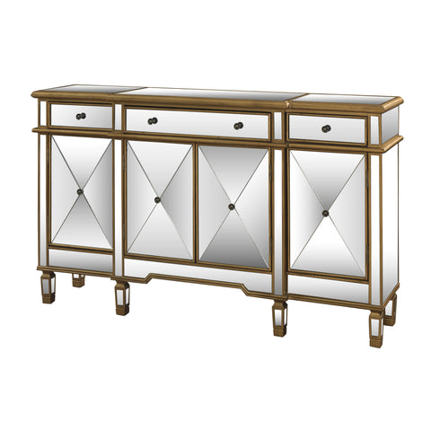 Powell Gold and Mirrored Console Three Drawers Four Doors