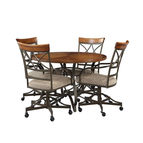 Powell Hamilton 5 Piece Swivel Dining Set in Brushed Faux Medium Cherry