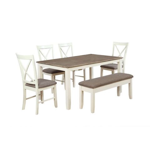 Powell Jane 6 Piece Dining Room Set in White
