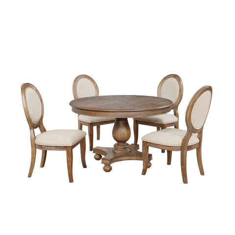 Powell Lenoir 5 Piece Dining Room Set in Wire-Brushed