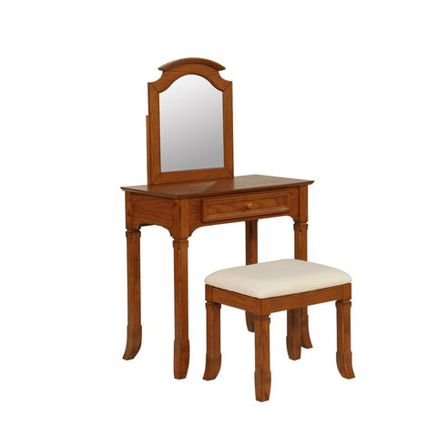 Powell Oakdale Vanity w/Stool in Warm Oak