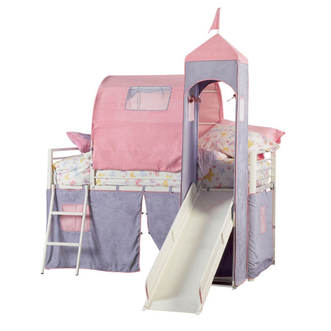 Powell Princess Castle Twin Size Tent Bunk Bed w/ Slide