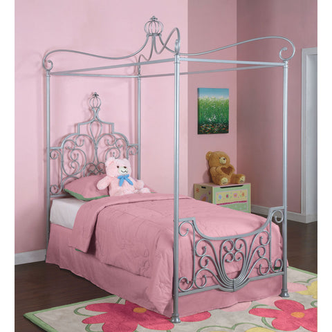 Powell Princess Rebecca Sparkle Silver Canopy Twin Size Bed